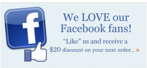like us on facebook get 20 dollars off