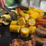 bbq grilled corn sausages and meat