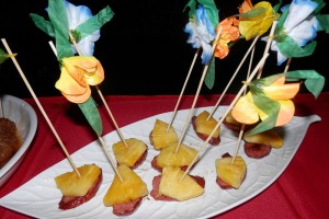 sausage and fresh pineapple skewer